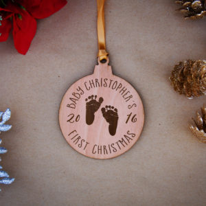 Round Wood Christmas Ornaments | Christopher