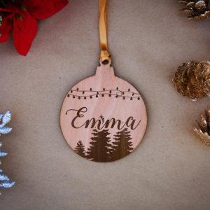 Round Wood Christmas Ornaments | Emma