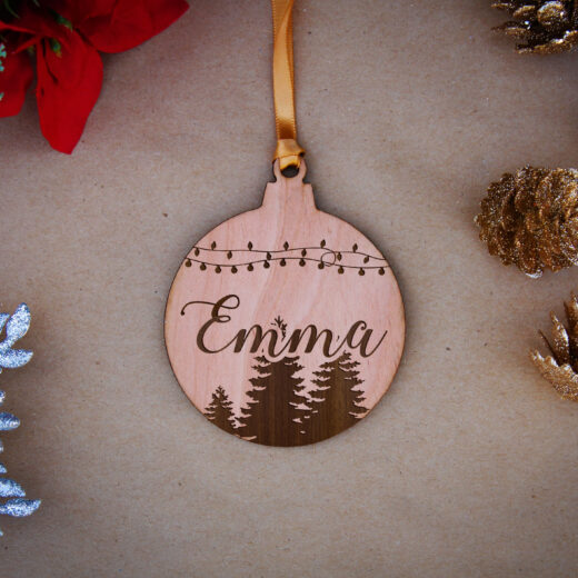 Round Wood Christmas Ornaments | Emma
