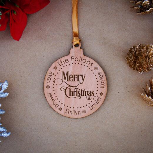 Round Wood Christmas Ornaments   Fallon