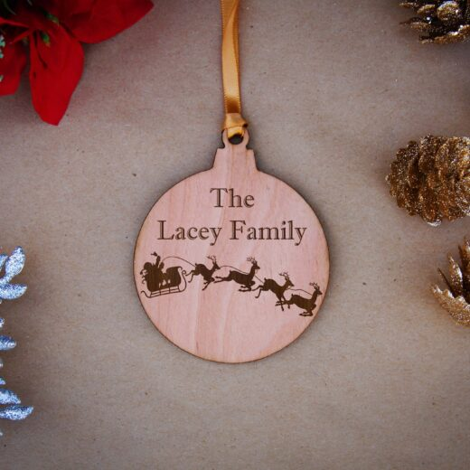 Round Wood Christmas Ornaments | Lacey