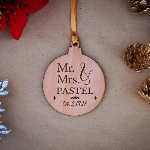 Round Wood Christmas Ornaments | Pastel