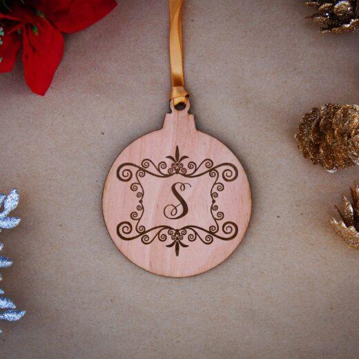 Round Wood Christmas Ornaments | S Monogram
