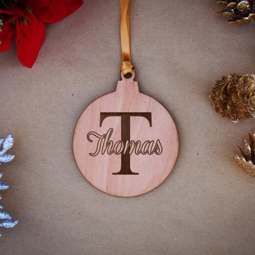 Round Wood Christmas Ornaments | Thomas