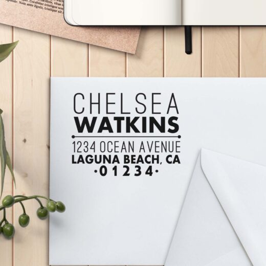 Personalized Return Address Stamp   Chelsea Watkins
