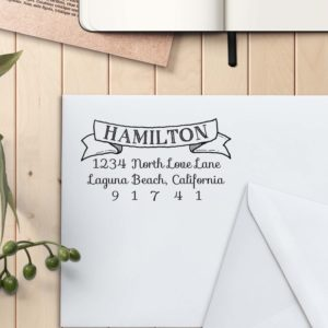 Personalized Return Address Stamp | Hamilton Scroll