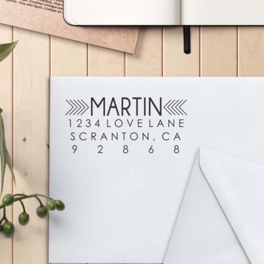 Personalized Return Address Stamp | Martin Thin Arrow