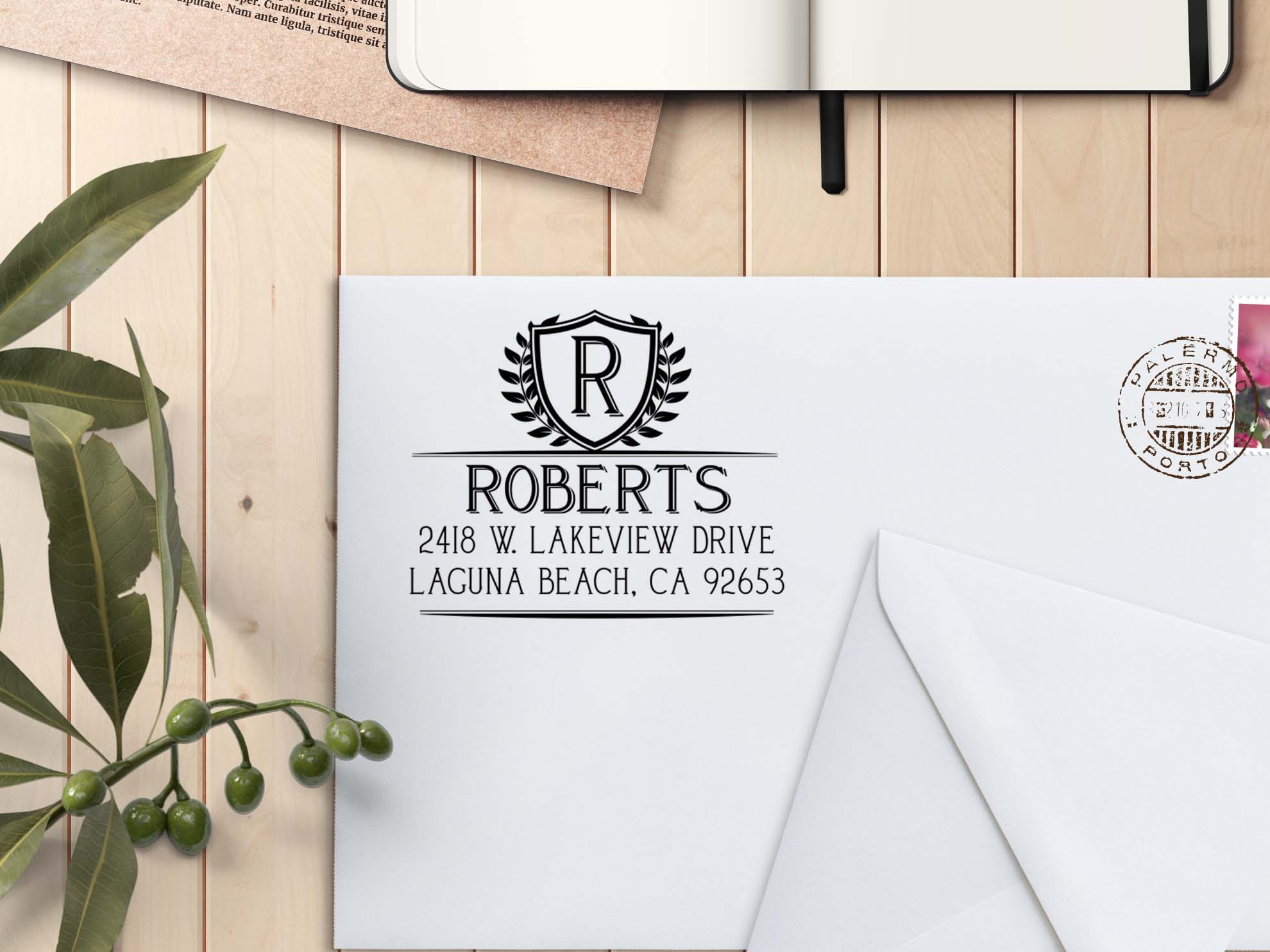 personalized return address stamp roberts etchey