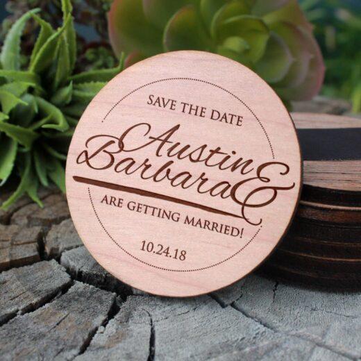 Wood Save The Date Magnet | Austin Barbara
