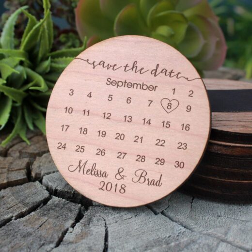 Wood Save The Date Magnet   Calendar
