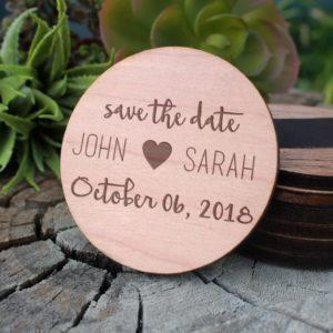Wood Save The Date Magnet | John Sarah