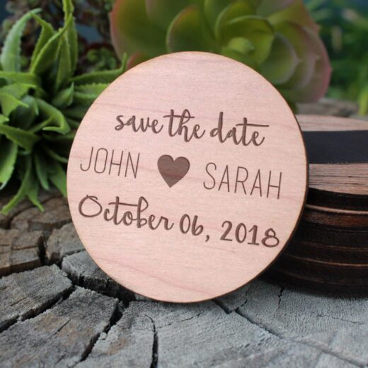 Wood Save The Date Magnet | John Sarah