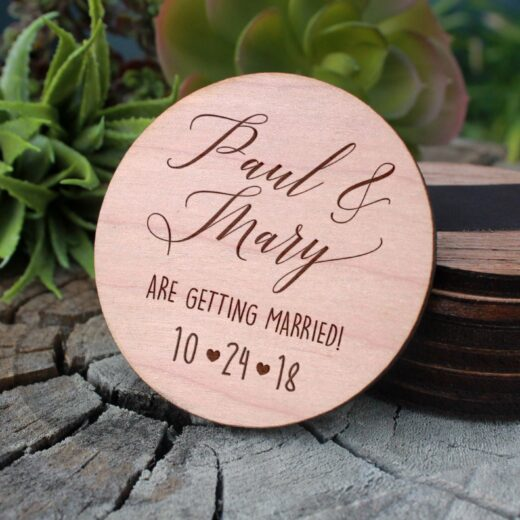 Wood Save The Date Magnet | Paul Mary