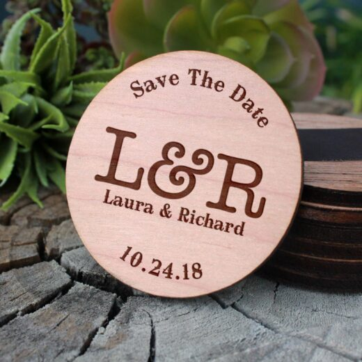 Wood Save The Date Magnet | L&R