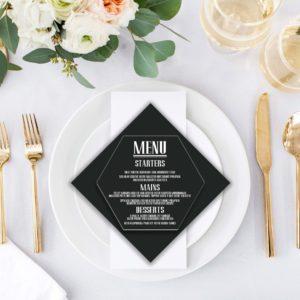Acrylic Hexagon Wedding Menu Card | Menu 3
