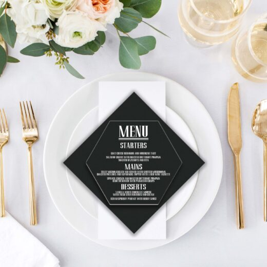 Acrylic Hexagon Wedding Menu Card | Menu 3