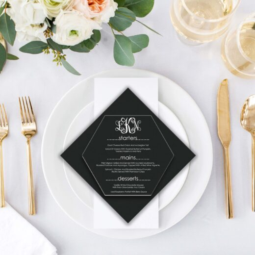 Acrylic Hexagon Wedding Menu Card | Menu 4