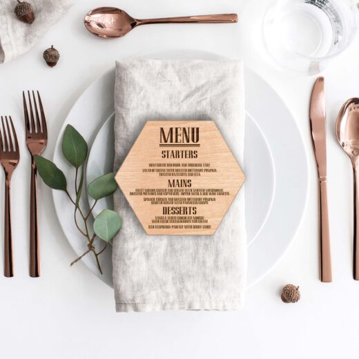 Wood Hexagon Wedding Menu Card | Menu 3