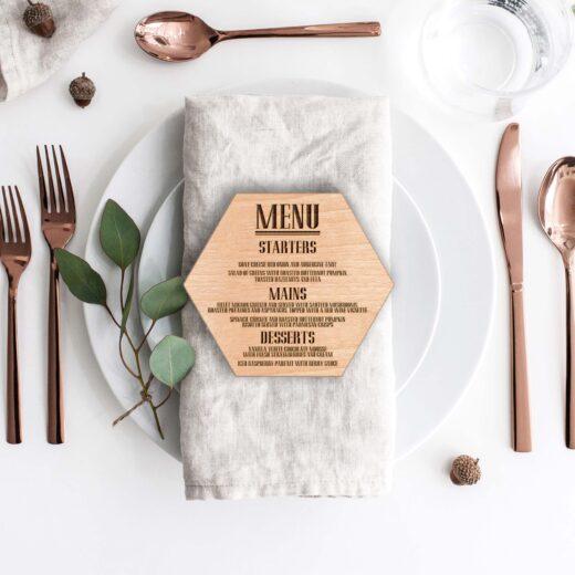 Wood Hexagon Wedding Menu Card | Menu 3