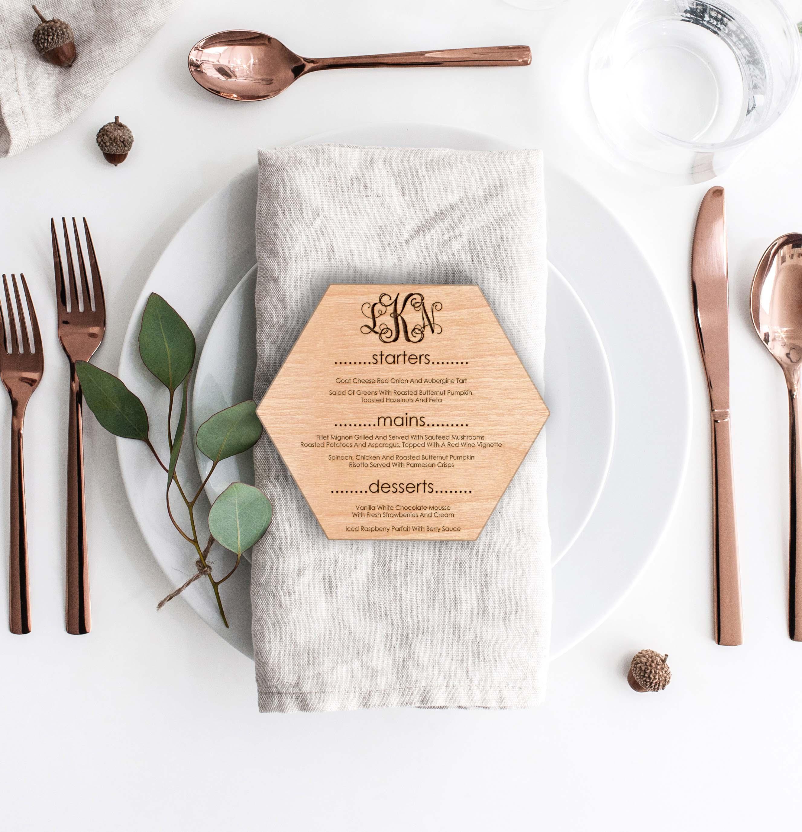 Wood Hexagon Wedding Menu Card | Menu 4