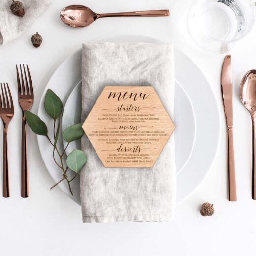 Wood Hexagon Wedding Menu Card | Menu 6