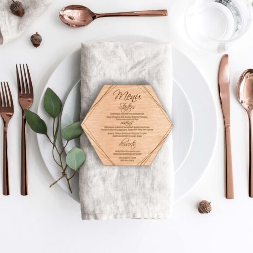 Wood Hexagon Wedding Menu Card | Menu 7