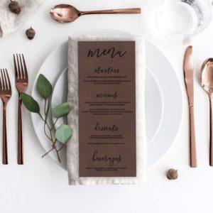 Leather Wedding Menu Card | Menu 2