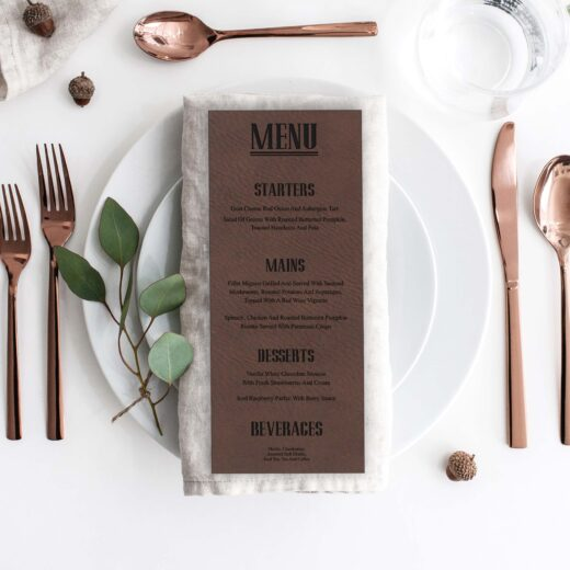 Leather Wedding Menu Card | Menu 3