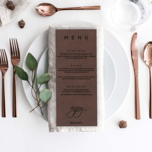 Leather Wedding Menu Card | Menu 8