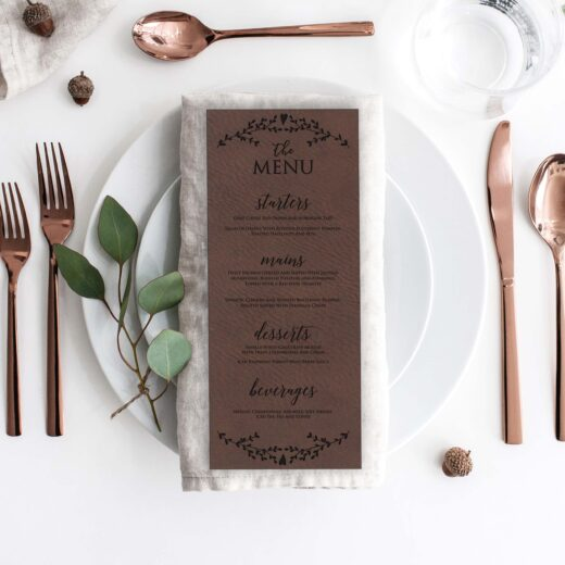 Leather Wedding Menu Card | Menu 9