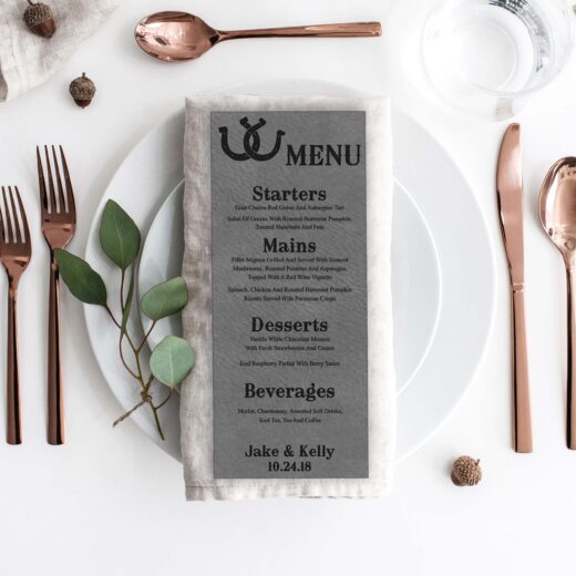 Leather Wedding Menu Card | Menu 10