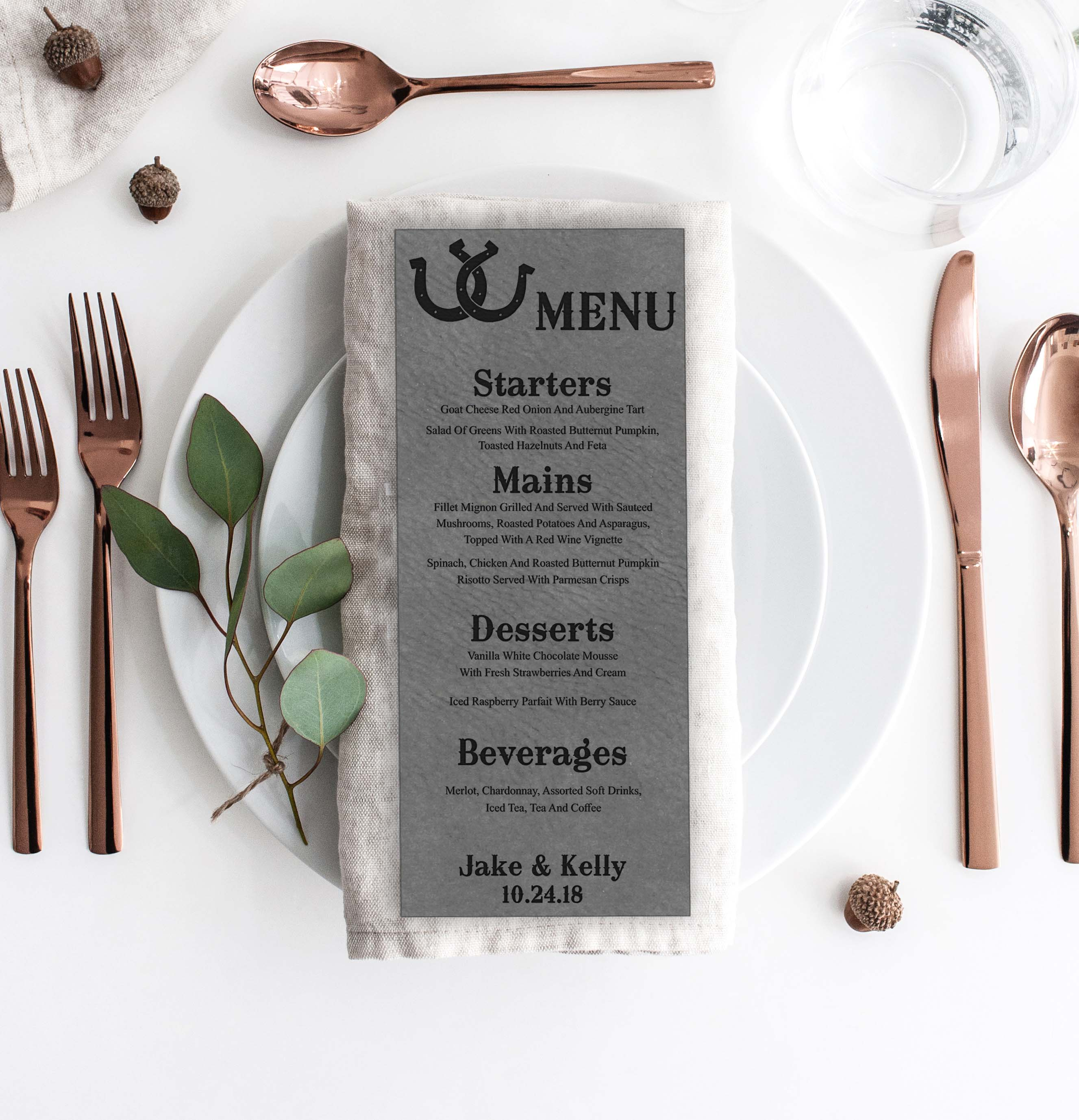 Leather Wedding Menu Card | Menu 10