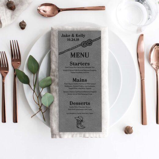 Leather Wedding Menu Card | Menu 11