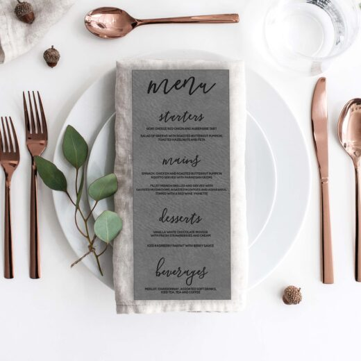 Leather Wedding Menu Card | Menu 2