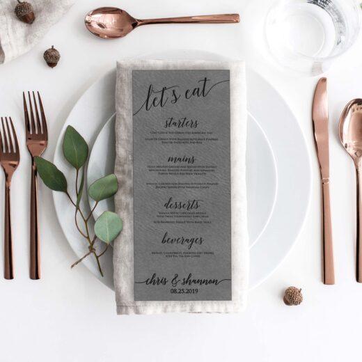 Leather Wedding Menu Card | Menu 5