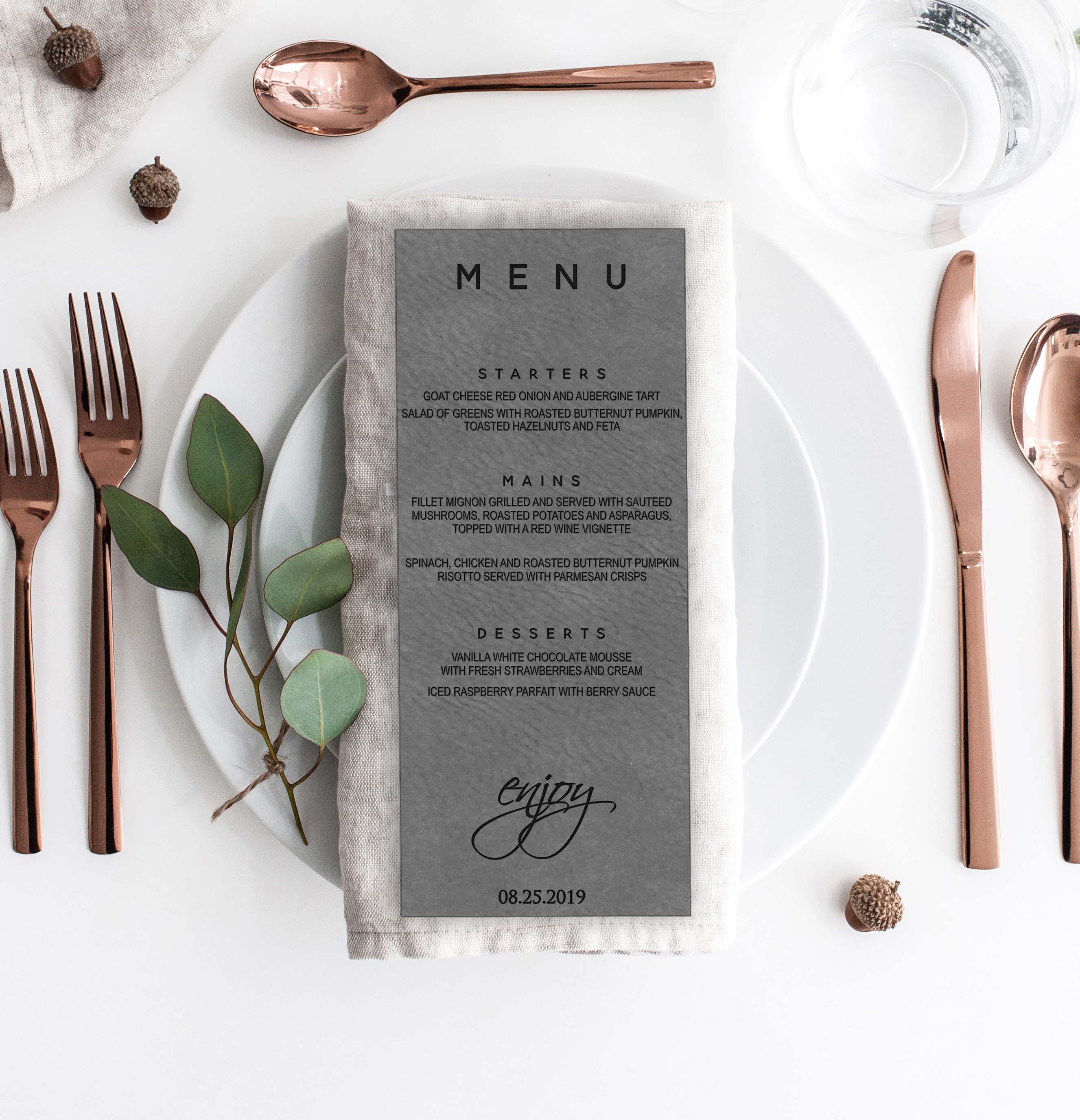 Leather Wedding Menu Card   Menu 8