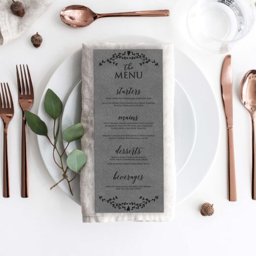 Leather Wedding Menu Card | Menu 9