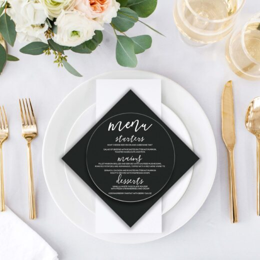 Round Acrylic Wedding Menu Card | Menu 2