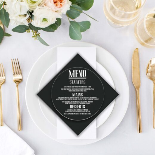 Round Acrylic Wedding Menu Card | Menu 3