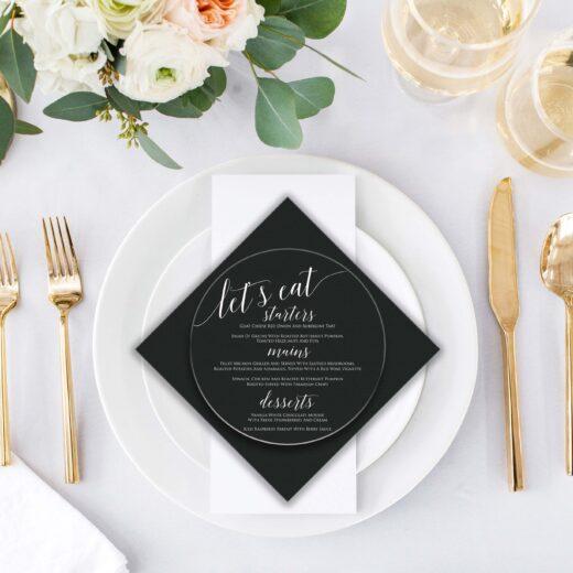 Round Acrylic Wedding Menu Card   Menu 5