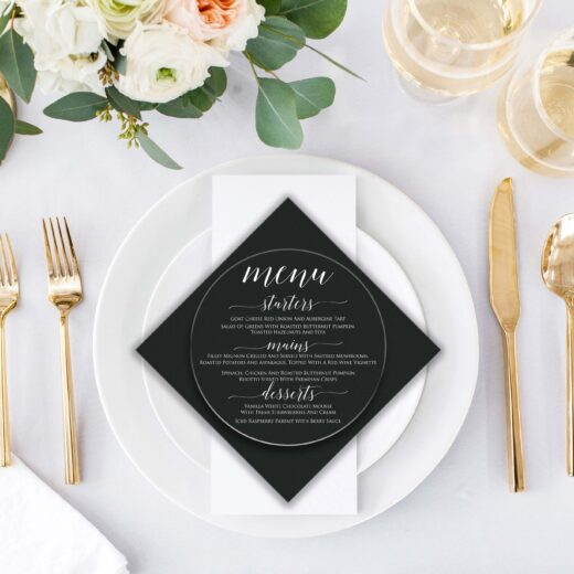 Round Acrylic Wedding Menu Card | Menu 6