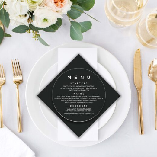 Round Acrylic Wedding Menu Card | Menu 8