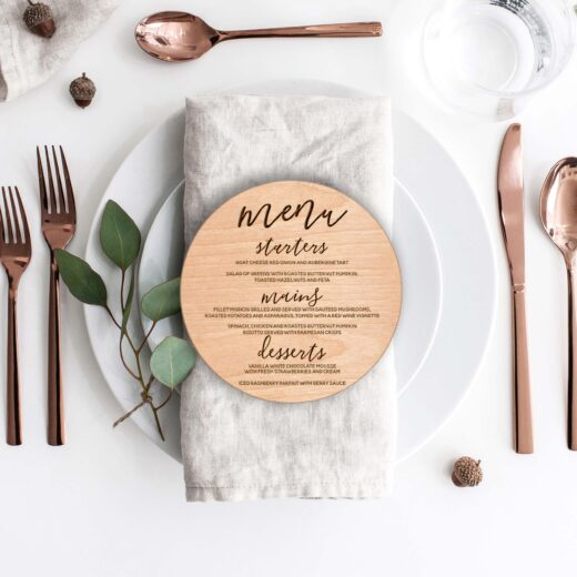 Wood Hexagon Wedding Menu Card | Menu 2