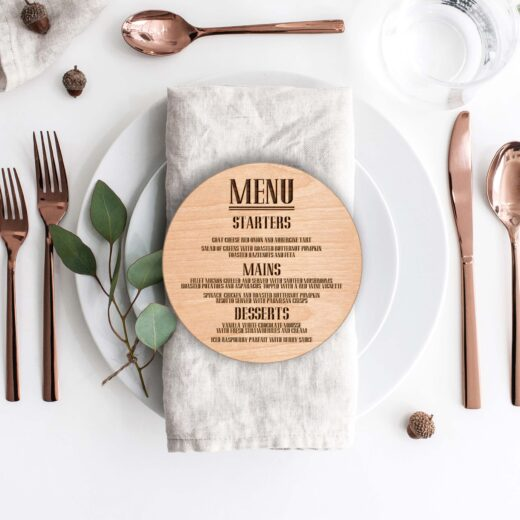 Wood Round Wedding Menu Card | Menu 3