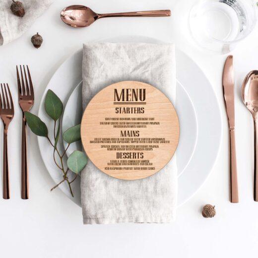 Wood Round Wedding Menu Card | Menu 3