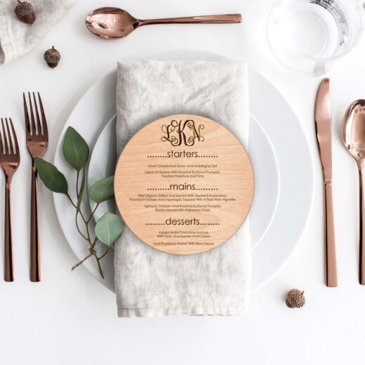Wood Round Wedding Menu Card | Menu 4