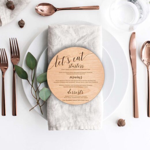 Wood Round Wedding Menu Card | Menu 5