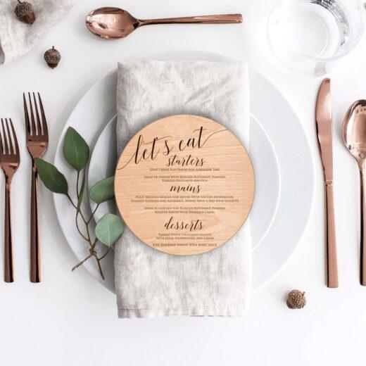 Wood Round Wedding Menu Card | Menu 5