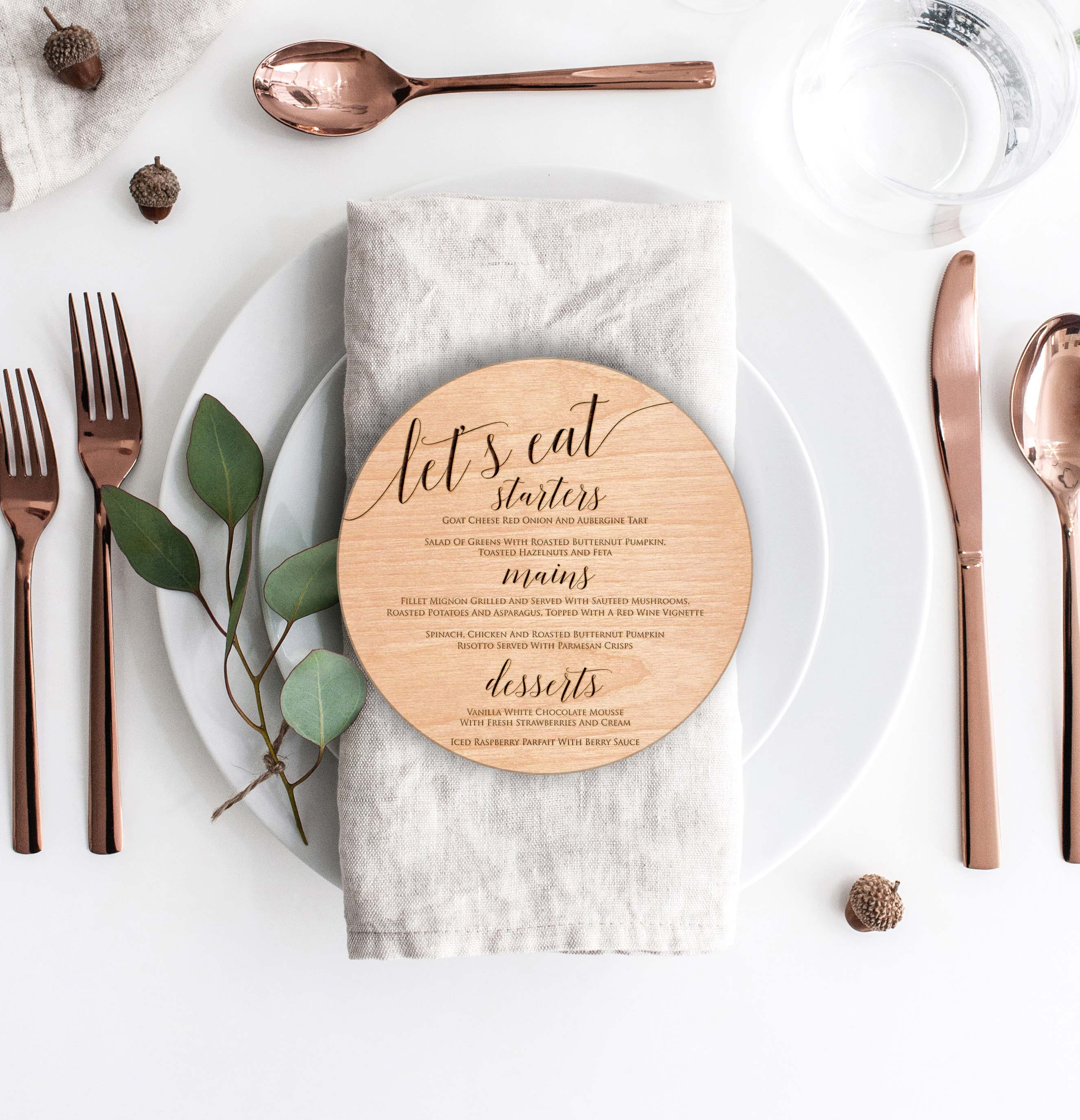 Wood Round Wedding Menu Card   Menu 5