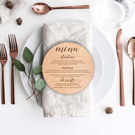 Wood Round Wedding Menu Card | Menu 6